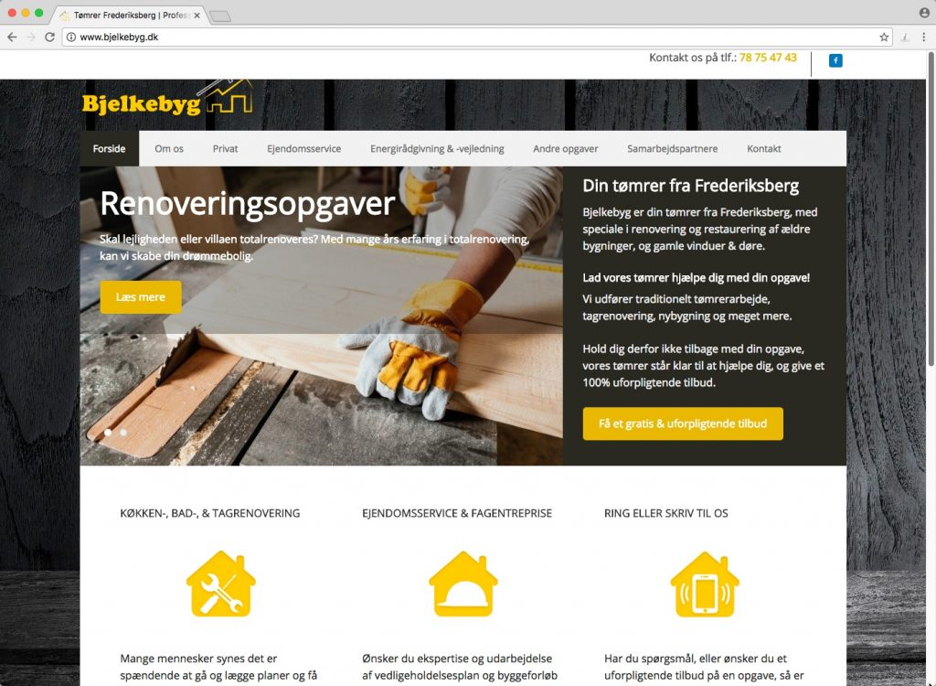 Get your business noticed online with a super optimised website like Bjelkebyg carpenters from our Manchester SEO expert team